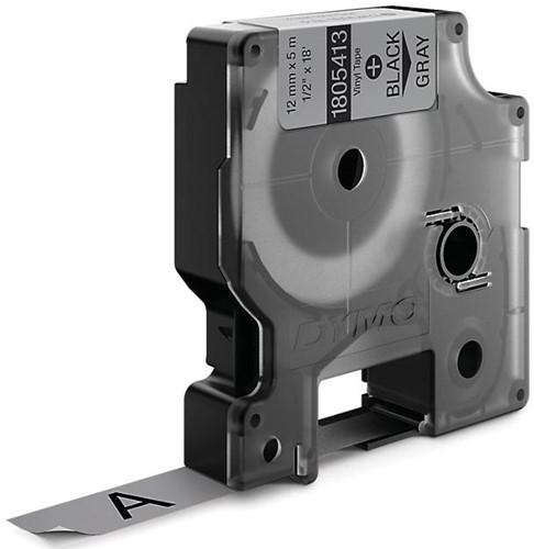 Dymo RHINO vinyltape 12 mm, zwart op grijs-2