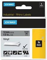 Dymo RHINO vinyltape 12 mm, zwart op grijs