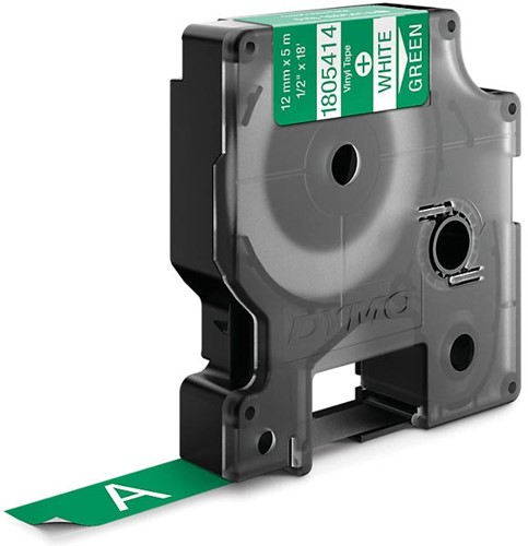 Dymo RHINO vinyltape 12 mm, wit op groen-2