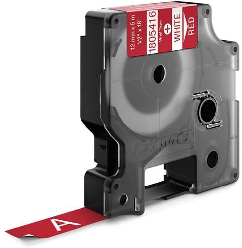 Dymo RHINO vinyltape 12 mm, wit op rood-2