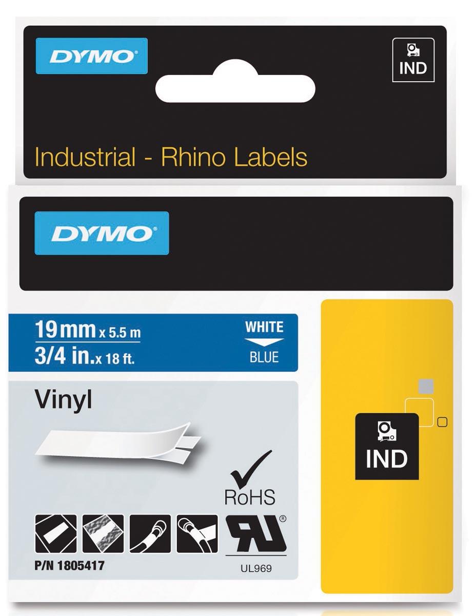 Dymo RHINO vinyltape 19 mm, wit op blauw