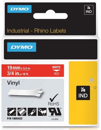 Dymo RHINO vinyltape 19 mm, wit op rood