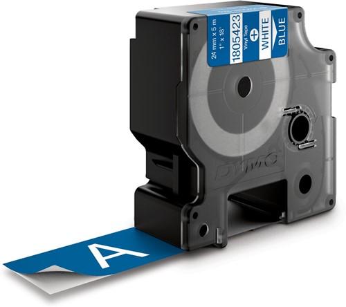 Dymo RHINO vinyltape 24 mm, wit op blauw-2