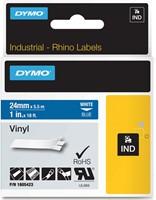Dymo RHINO vinyltape 24 mm, wit op blauw