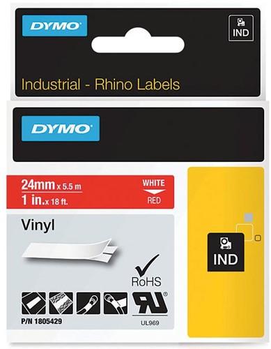 Dymo RHINO vinyltape 24 mm, zwart op rood