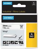 Dymo RHINO vinyltape 24 mm, zwart op wit
