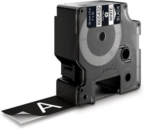 Dymo RHINO vinyltape ft 24 mm, wit op zwart-2