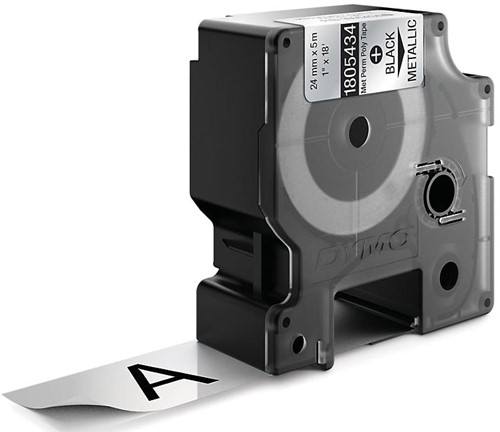 Dymo RHINO tape permanent polyester 24 mm, zwart op metaal-2