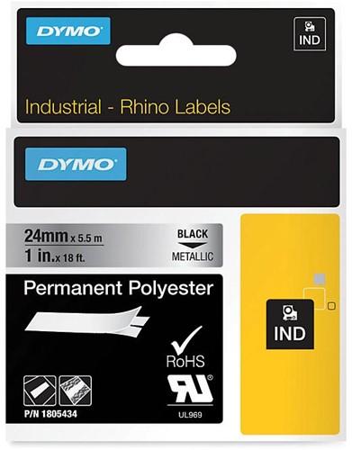 Dymo RHINO tape permanent polyester 24 mm, zwart op metaal