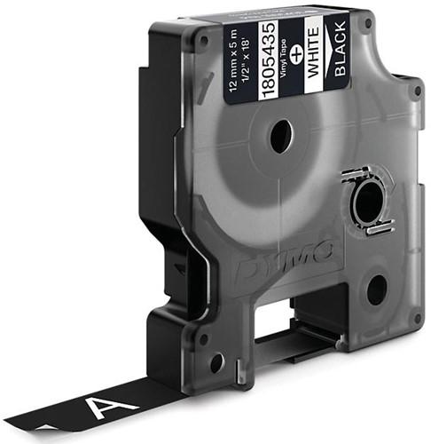 Dymo RHINO vinyltape 12 mm, wit op zwart-2