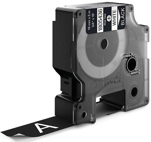 Dymo RHINO vinyltape 19 mm, wit op zwart-2