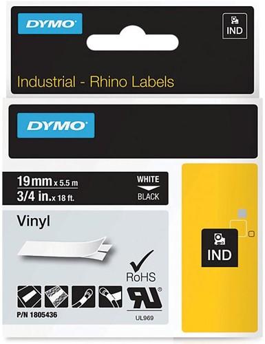 Dymo RHINO vinyltape 19 mm, wit op zwart