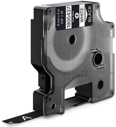 Dymo RHINO vinyltape 9 mm, wit op zwart-2