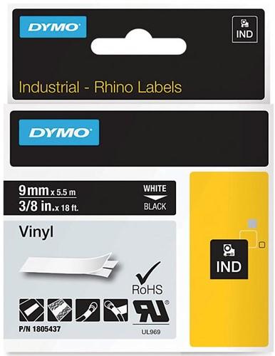 Dymo RHINO vinyltape 9 mm, wit op zwart