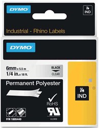 Dymo RHINO permanente polyester tape 6 mm, zwart op transparant