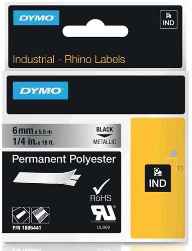 Dymo RHINO permanente polyester tape 6 mm, zwart op metaal