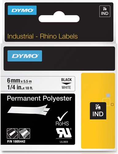 Dymo RHINO tape permanent polyester 6 mm, zwart op wit