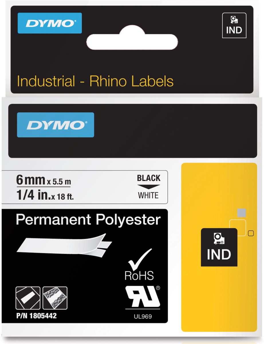 Dymo RHINO tape permanent polyester 6 mm, zwart op wit