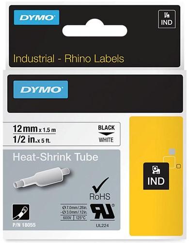 Dymo RHINO krimpkous 12 mm, zwart op wit