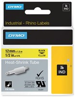 Dymo RHINO krimpkous 12 mm, zwart op geel