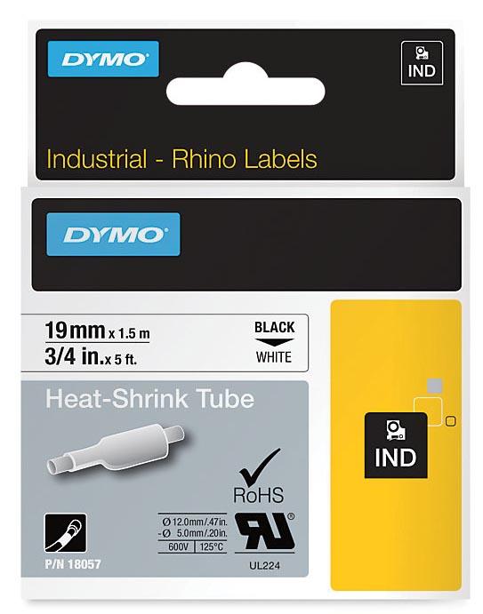 Dymo RHINO krimpkous 19 mm, zwart op wit