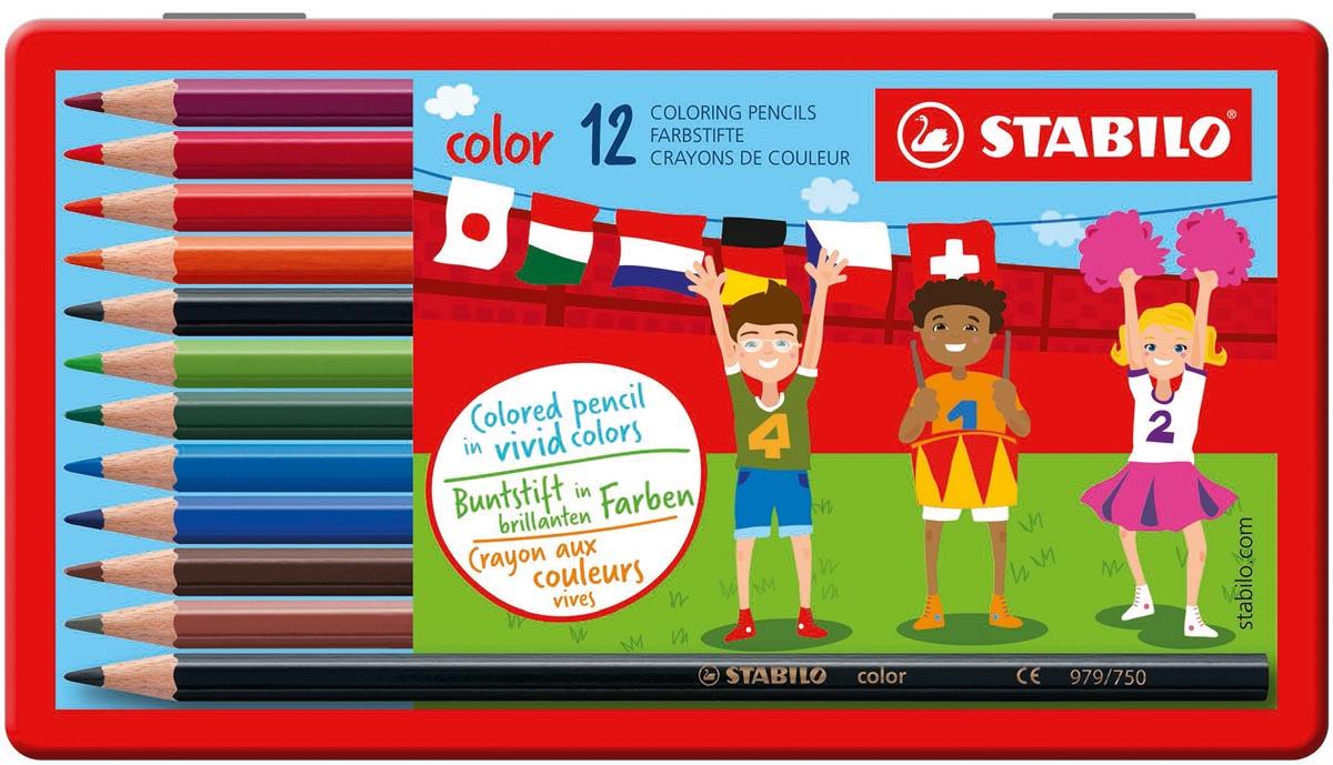 STABILO Color kleurpotlood, metalen doos van 12 stuks