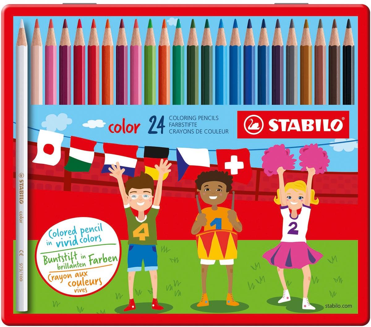 STABILO Color kleurpotlood, metalen doos van 24 stuks