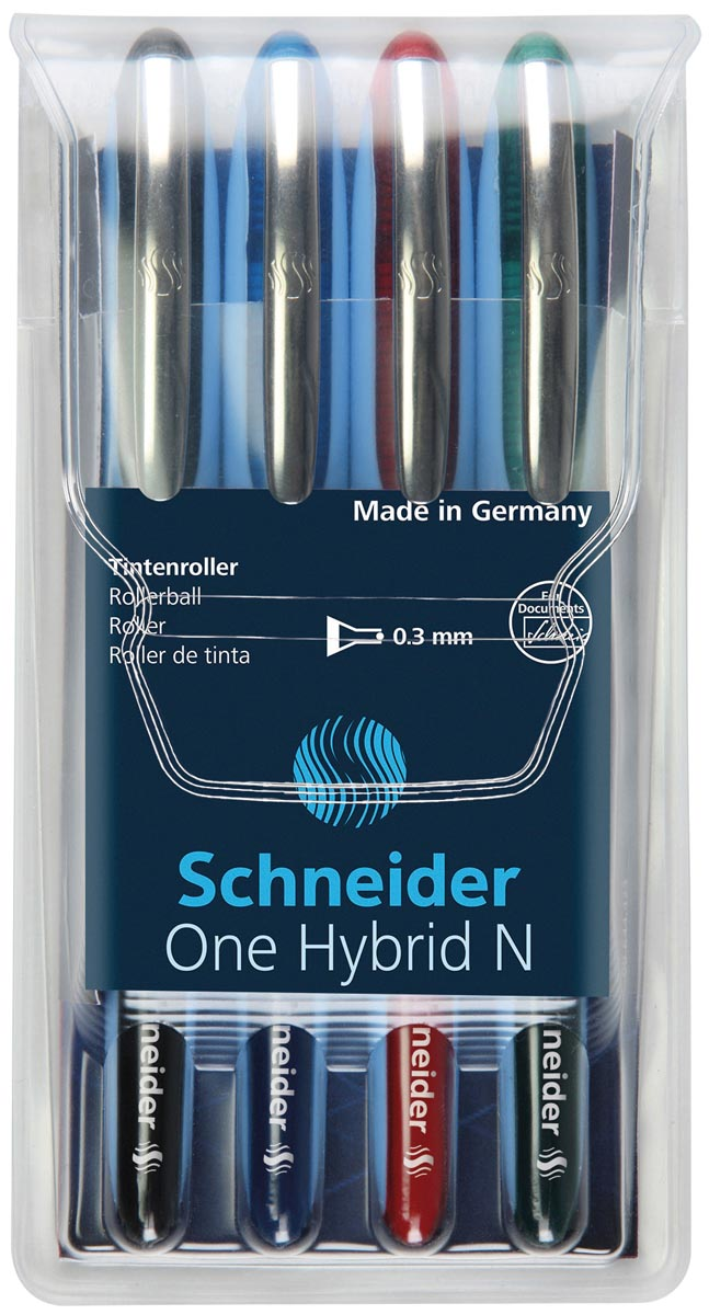 Schneider Roller One Hybrid N, 0,3 mm lijndikte, etui van 4 stuks in geassorteerde kleuren