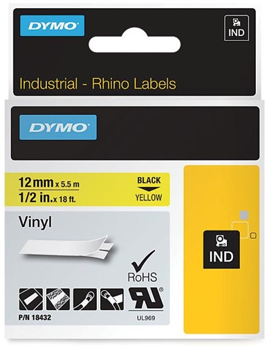 Dymo RHINO vinyltape 12 mm, zwart op geel