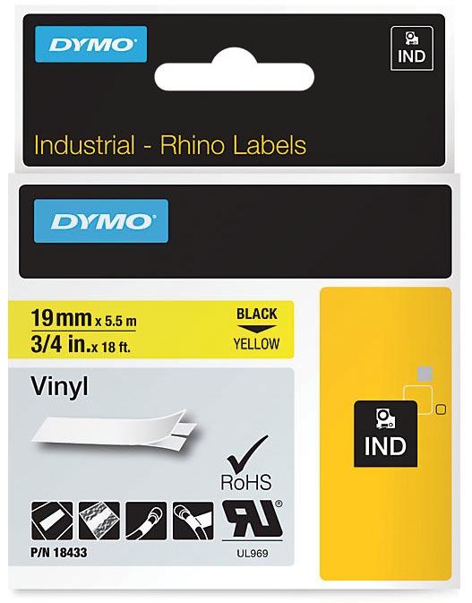 Dymo RHINO vinyltape 19 mm x 5,5 m, zwart op geel