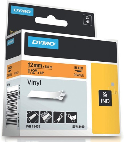 Dymo RHINO vinyltape 12 mm, zwart op oranje