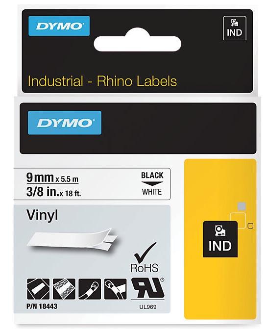 Dymo RHINO vinyltape 9 mm, zwart op wit