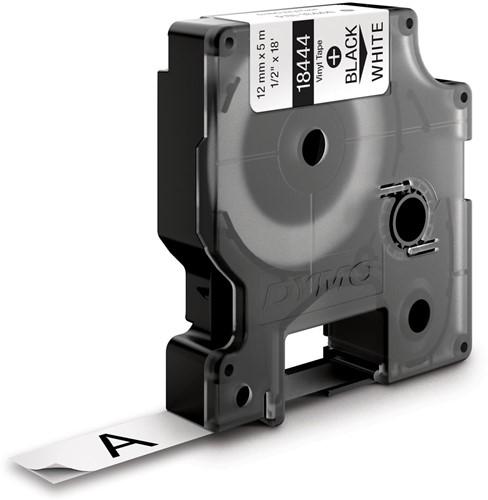 Dymo RHINO vinyltape 12 mm, zwart op wit-2