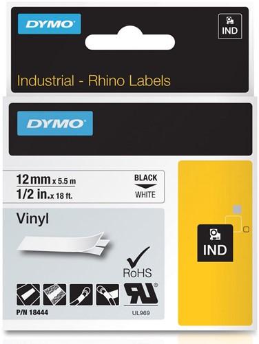 Dymo RHINO vinyltape 12 mm, zwart op wit