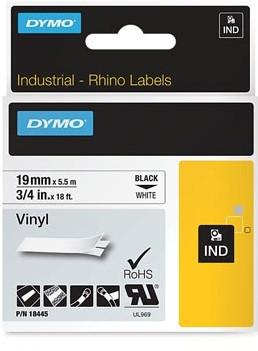 Dymo RHINO vinyltape 19 mm, zwart op wit-3