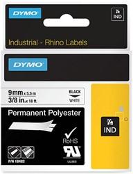 Dymo RHINO permanente polyester tape 9 mm, zwart op wit