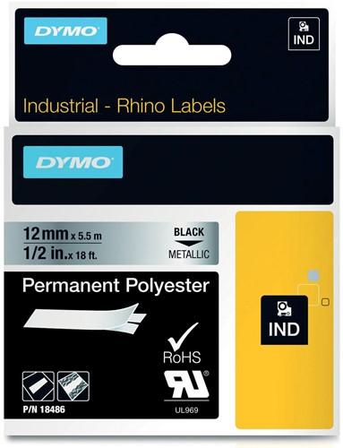 Dymo RHINO tape permanent polyester 12 mm, zwart op metaal