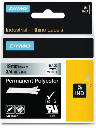Dymo RHINO tape permanent polyester 19 mm, zwart op metaal