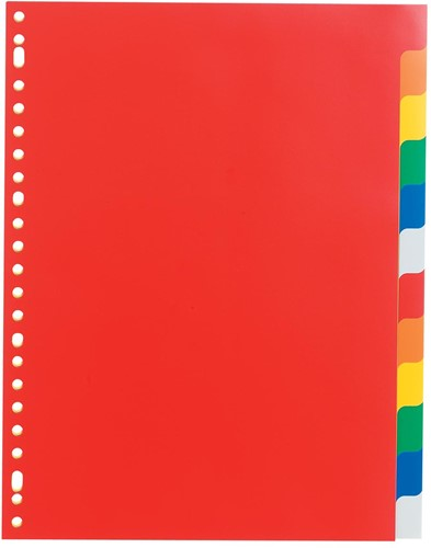 Class'ex tabbladen 12 tabs, 23-gaatsperforatie, PP, geassorteerde kleuren