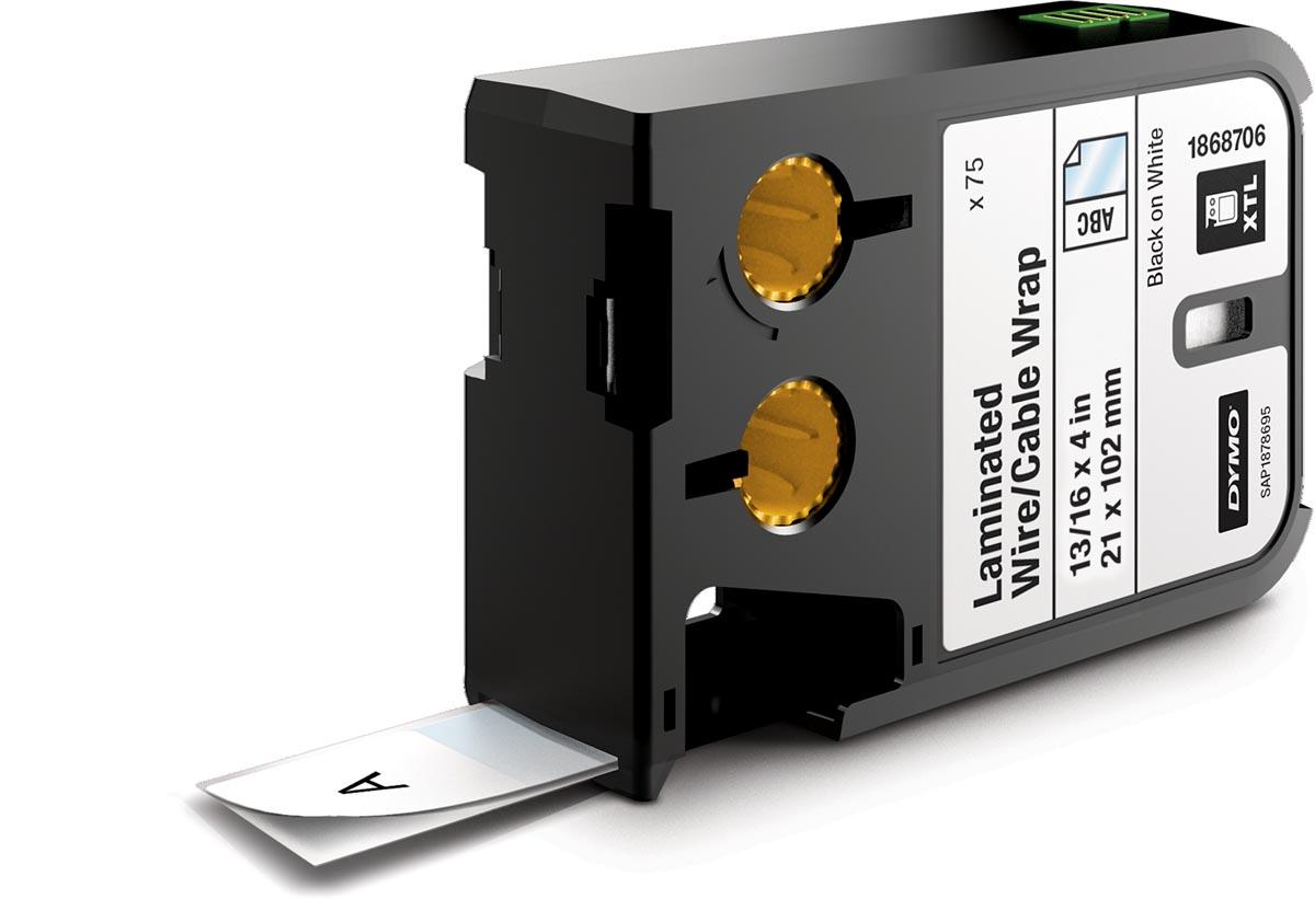 Dymo XTL gelamineerde snoer- en kabelwikkels, ft 21 x 102 mm, 75 etiketten