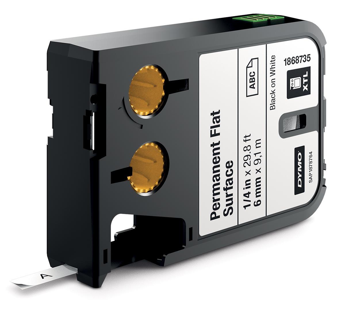 Dymo XTL tape 6 mm, zwart op wit, polyester
