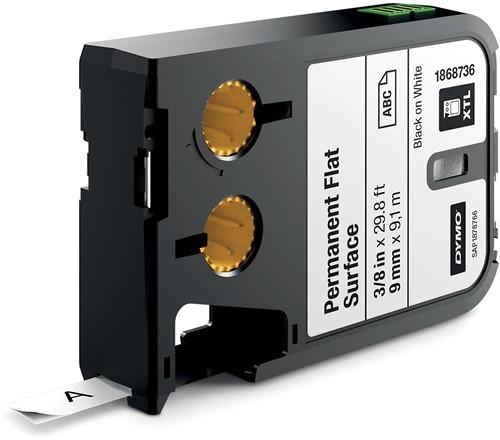 Dymo XTL tape 9 mm, zwart op wit, polyester