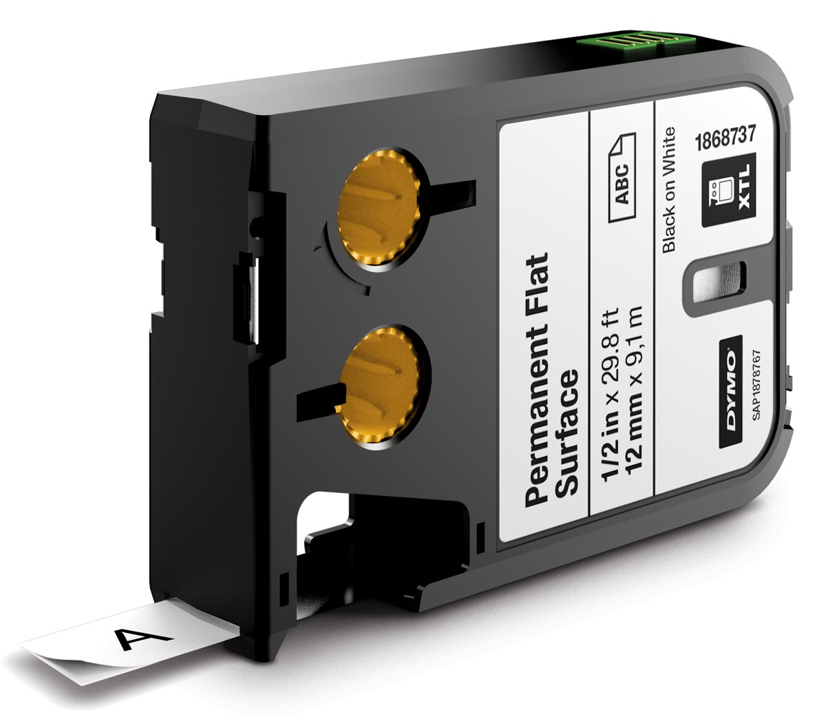 Dymo XTL tape 12 mm, zwart op wit, polyester