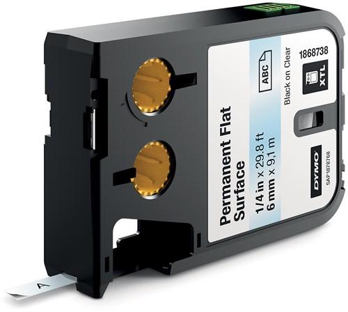 Dymo XTL tape 6 mm, zwart op transparant, polyester