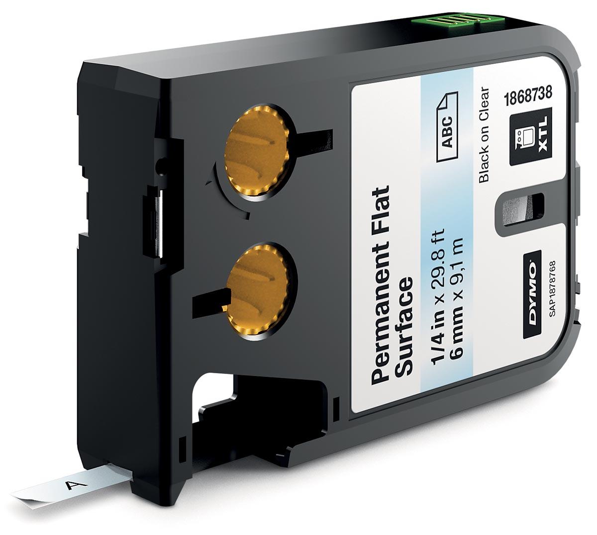Dymo XTL tapes ft 6 mm, zwart op transparant, polyester