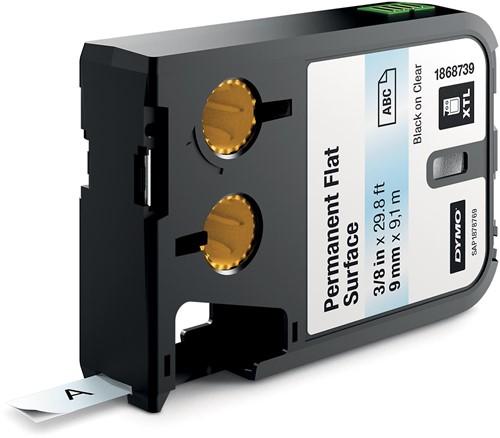 Dymo XTL tape 9 mm, zwart op transparant, polyester