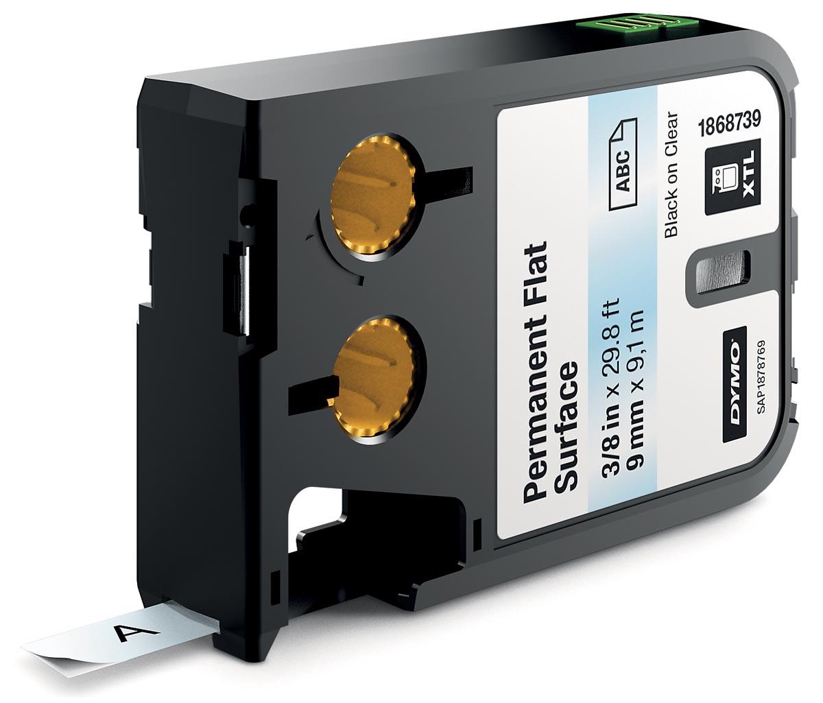 Dymo XTL tapes ft 9 mm, zwart op transparant, polyester