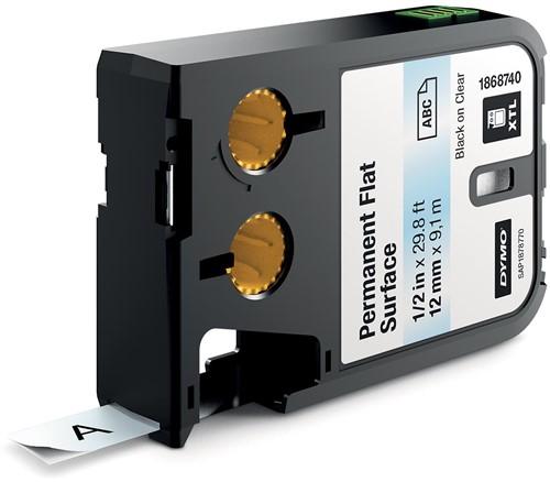 Dymo XTL tape 12 mm, zwart op transparant, polyester