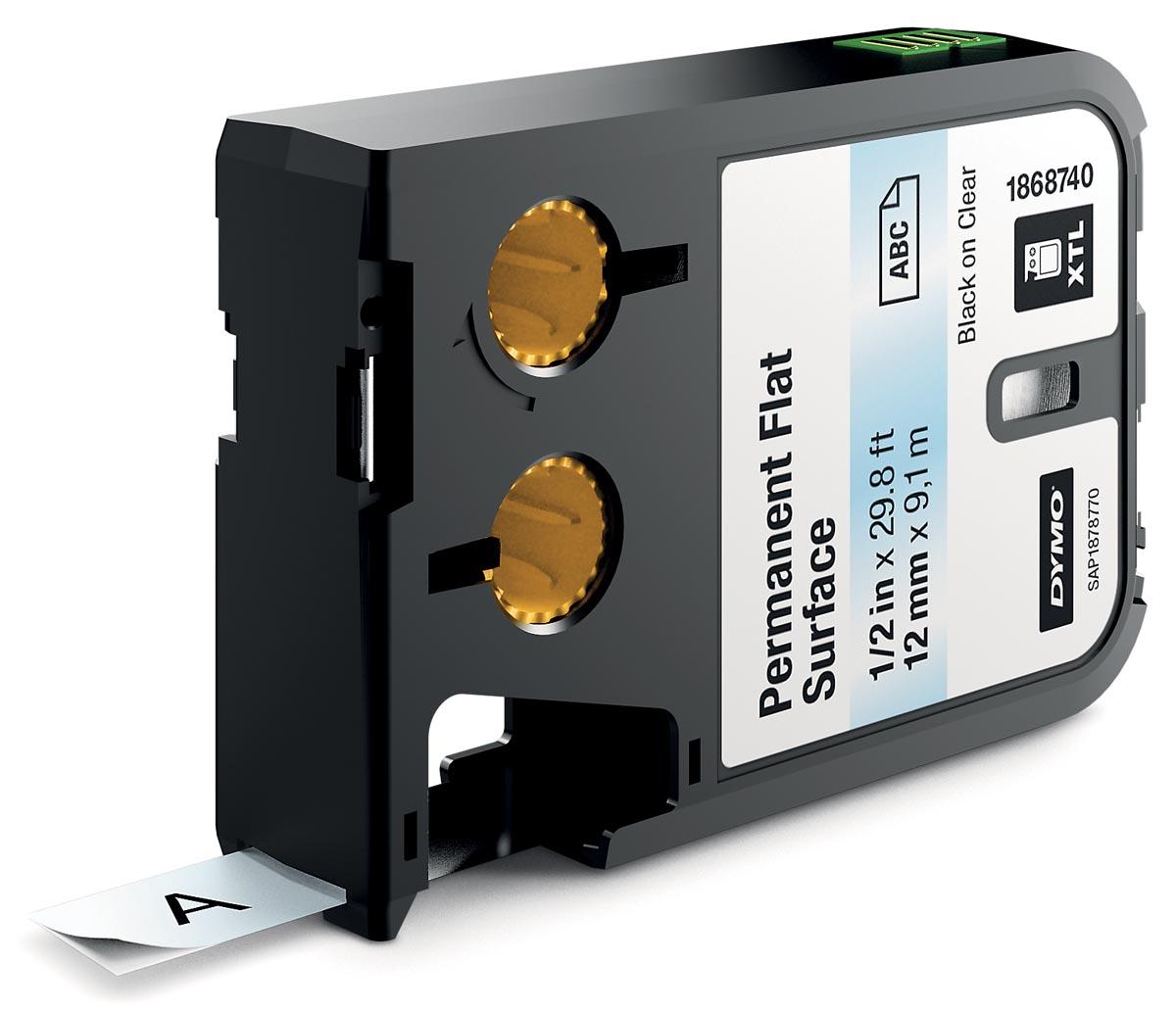 Dymo XTL tapes ft 12 mm, zwart op transparant, polyester