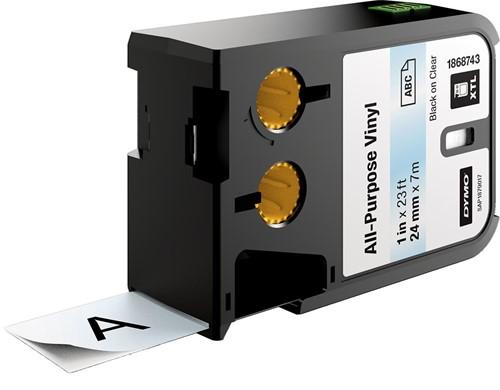 Dymo XTL vinyltape ft 24 mm x 7,5 m, zwart op transparant
